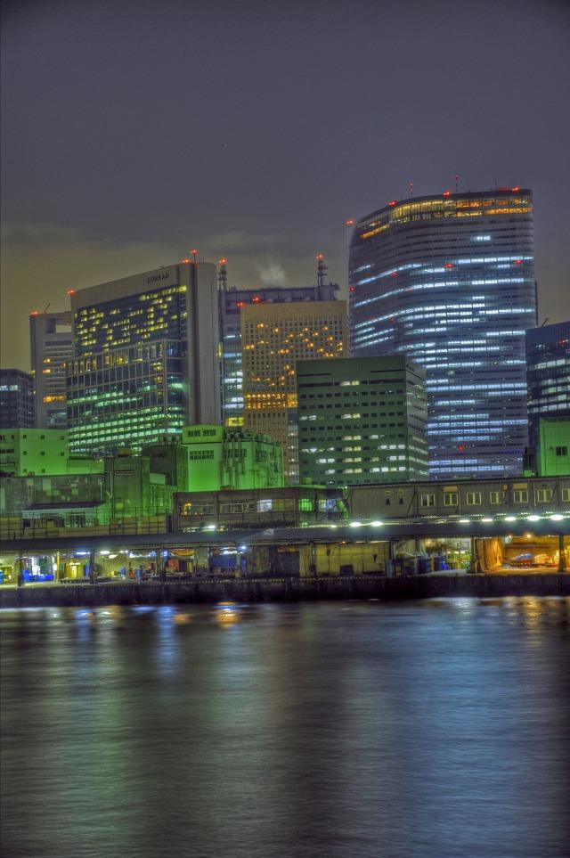 中央卸売市場 築地市場とビル群@隅田川(勝どき)